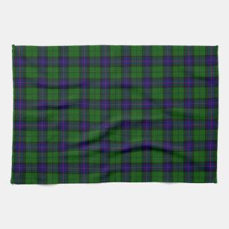 Armstrong clan tartan blue green plaid tea towel