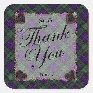 Armstrong Scottish clan tartan - Plaid Square Sticker
