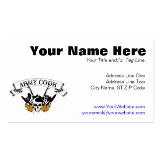 Army Cook Pack Of Standard Business Cards
