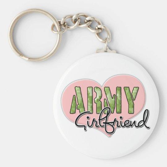 Army Girlfriend Basic Round Button Key Ring