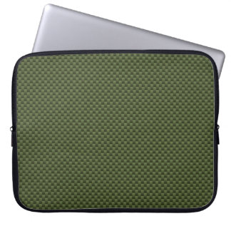 Army Green Carbon Fiber Style Print Laptop Computer Sleeves