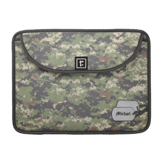 Army Green Digirtal Camouflage w/ ID Tag Sleeves For MacBook Pro
