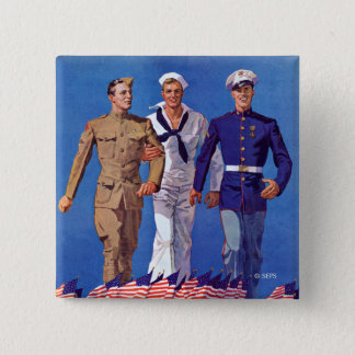 Army, Navy & Marines 15 Cm Square Badge