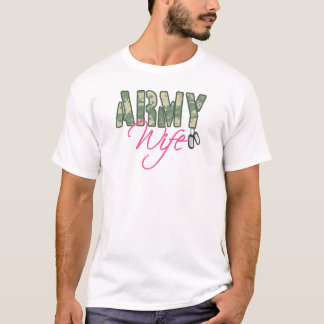 Army wife camo and pink with dog tags T-Shirt