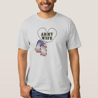Army Wife Dog-Tags Flag Camo Support Shirt T-Shirt
