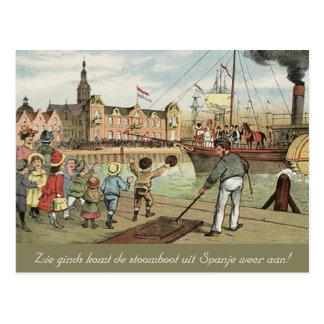 Arrival of Sinterklaas Dutch St. Nick Vintage Postcard