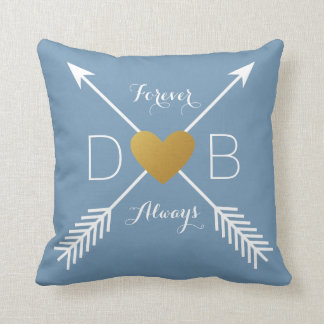 Arrows Gold Heart Love Personalized Initial Throw Pillow