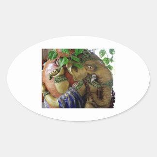 ART101 Ganesha with Holy Water KALASHA Oval Stickers