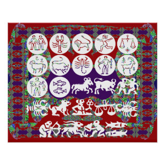 ART101 Zodiac Collection on Oriental Color Collage Poster