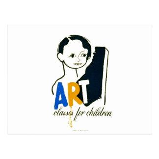 Art Classes for Children - WPA Poster - Postcard