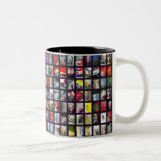 Art collage window view Two-Tone coffee mug