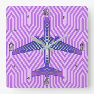 Art Deco Airplane, Violet Purple and Silver Gray Square Wall Clock