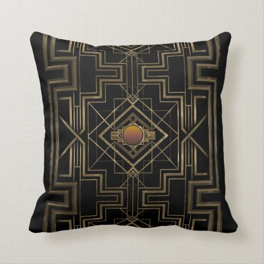 Art Deco Antique Gold Throw Pillow Zazzle