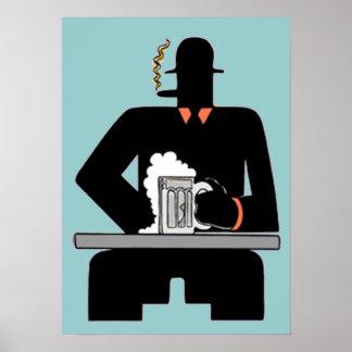 Art Deco Beer Drinker Print