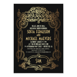 Art Deco Black and Gold Rehearsal Dinner Card