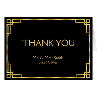 Art Deco Black And Gold Wedding Thank You Cards