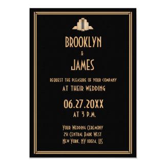 Art Deco Black Great Gatsby Wedding Invitations