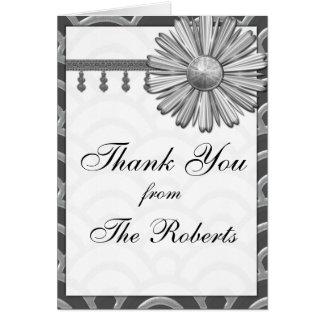 Art Deco Black, White, Silver Wedding Invites Card
