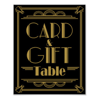 Art Deco Card and gift table wedding signs Print