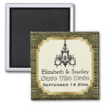 Art Deco chandelier seigaiha wedding Save the Date Square Magnet