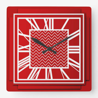Art Deco, Chinese red Square Wall Clock