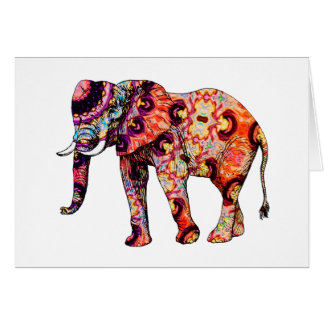 Art Deco Colorful Psychedelic Elephant Card