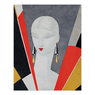 Art Deco Cubist Magazine Cover by Eduardo Benito Poster