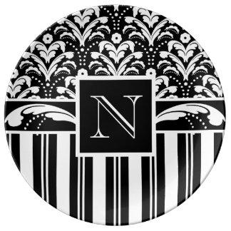Art Deco Damask and Stripes Custom Monogram Porcelain Plate