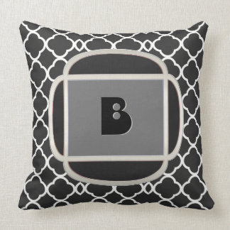 Art Deco Does Morocco-ALT-Black and White-Monogram Cushion