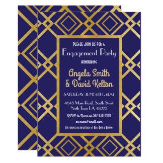 Art Deco Engagement Invitations Invites Navy Gold