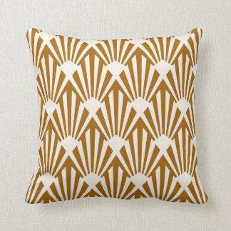 Art Deco Fan Pattern Caramel and Cream Cushion