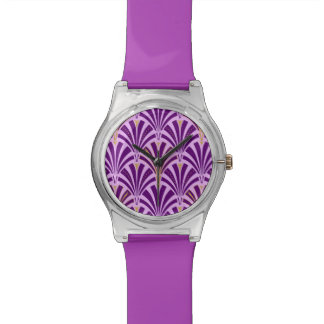 Art Deco fan pattern - purple and orchid Watch
