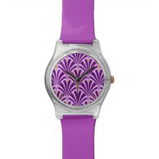 Art Deco fan pattern - purple and orchid Wristwatches