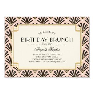 Art Deco Fans Birthday Brunch in Blush Pink Card