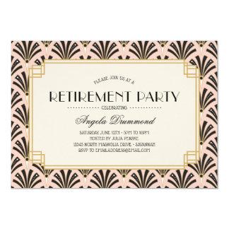 Art Deco Fans Retirement Party Blush Pink Card