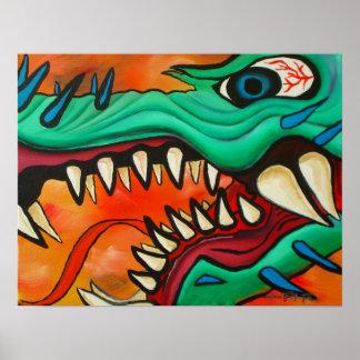 Art Deco Fantasy dragon Poster