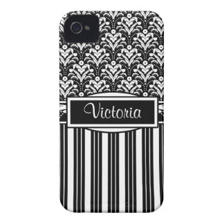 Art Deco Floral Black and White Damask Your Name iPhone 4 Case