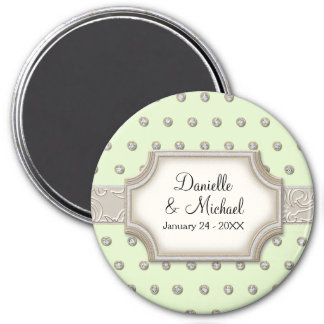 Art Deco Frame Champagne Silver Jewel Dots 7.5 Cm Round Magnet