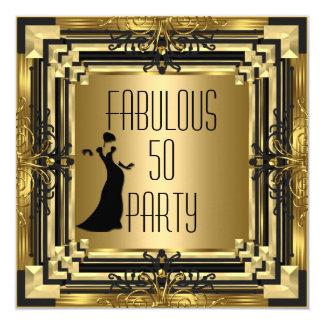 ART DECO Gatsby Fabulous 50 50th Birthday Retro 2 13 Cm X 13 Cm Square Invitation Card