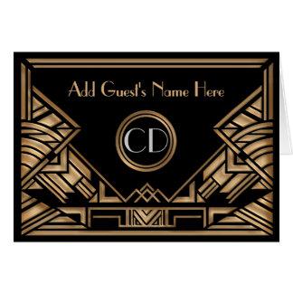 Art Deco Gatsby Golden Beige Wedding Place Cards