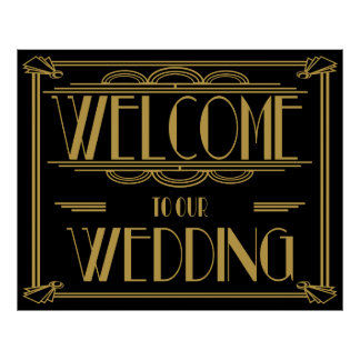 "Art Deco Gatsby style ""Welcome to our wedding"" Poster"