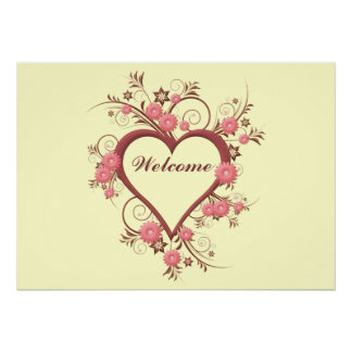 Art Deco Heart and Flowers Posters