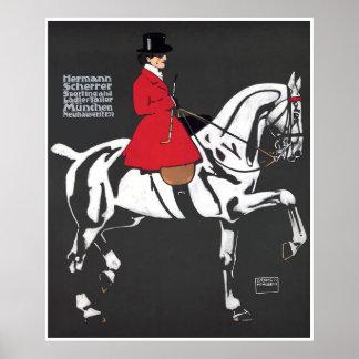 ART DECO HORSE and RIDER: Fine Art Poster