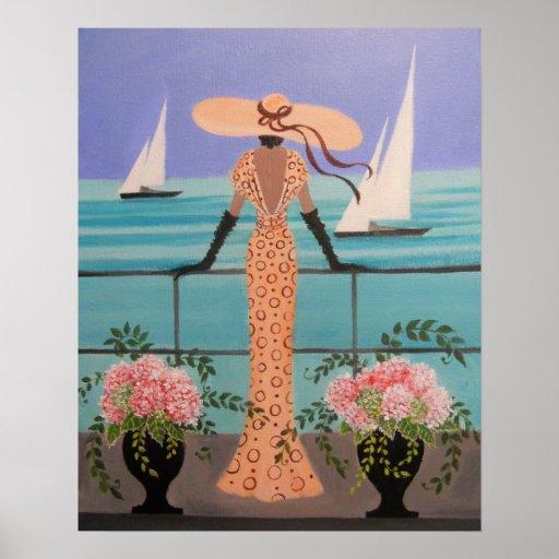 ART DECO LADY ON A BALCONY PRINT