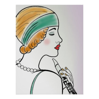 Art Deco Lady with Clarinet Print