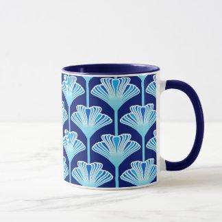 Art Deco Lily, Cobalt Blue, Aqua and White Mug