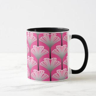 Art Deco Lily, Fuchsia Pink and Silver Gray Mug