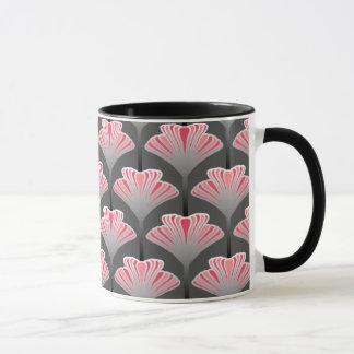 Art Deco Lily, Gray / Grey and Coral Pink Mug