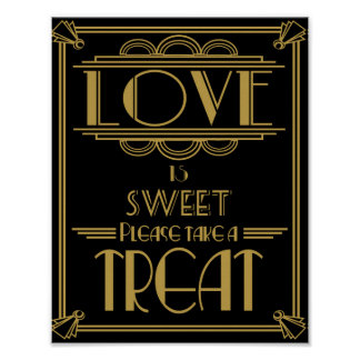 Art Deco Love is sweet poster