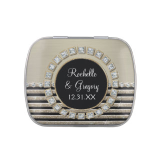 Art Deco Modern Horizontal Stripe Glitter Favors Jelly Belly Candy Tin